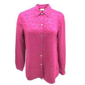 Chico's Long Sleeve Button Down Blouse Sz M/8 Pink